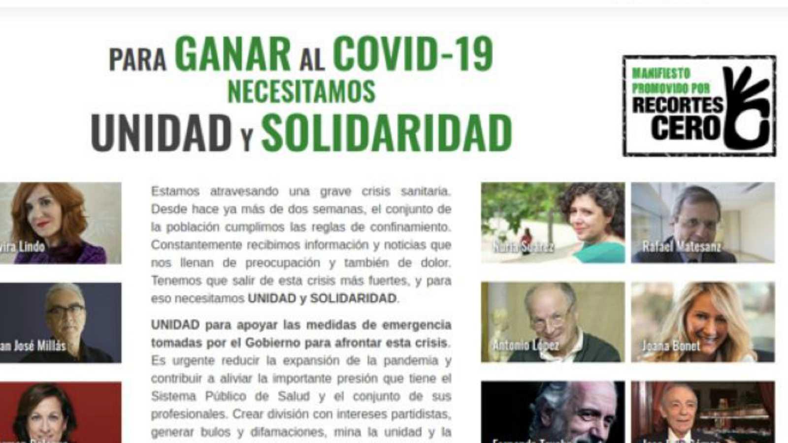 Las mañanas de RNE con Íñigo Alfonso - Recortes Cero pide unidad y solidaridad para salir de la crisis - Escuchar ahora