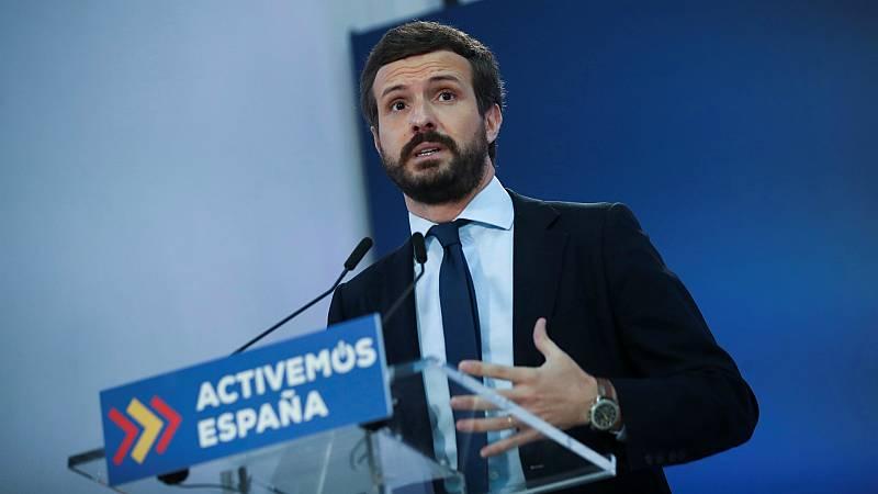 14 horas - El PP niega que hubiera un acuerdo casi cerrado con Sánchez e insiste en que no negociarán con Podemos en la mesa - Escuchar ahora
