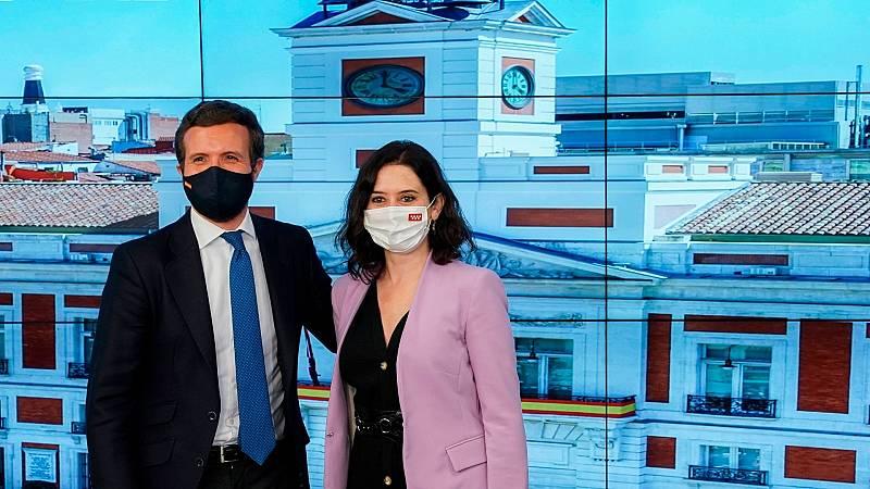 """14 horas - Casado y Ayuso leen los resultados en clave nacional: """"el tablero ha cambiado"""" - Escuchar ahora"""
