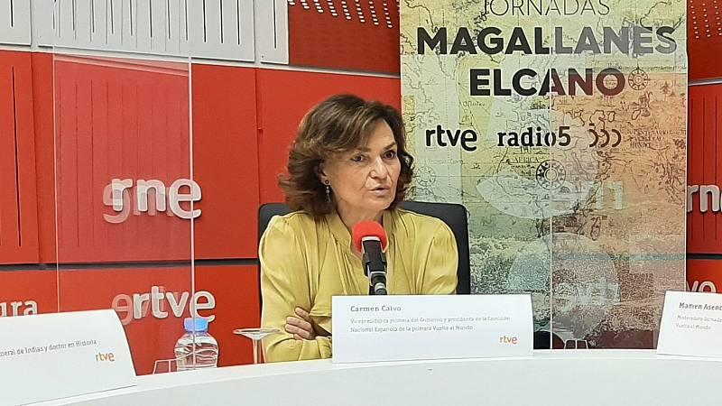 """Especiales RNE - Carmen Calvo: """"Magallanes y Elcano nos dieron una lección de atrevimiento. Toca ser valiente"""" - Escuchar ahora"""
