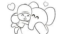 Colorea el abrazo de Pocoyó y Elly