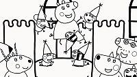 Colorea a la familia Pig en el castillo hinchable
