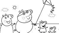 Colorea a la familia Pig jugando a la cometa