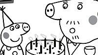 Colorea la fiesta de cumpleaños del Abuelo Pig