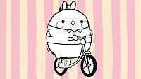 Colorea a Molang en bicicleta