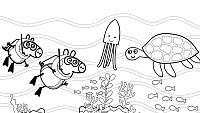 Colorea a Peppa buceando el el fondo marino