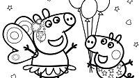 Colorea a Peppa y George en el Festival del Barro