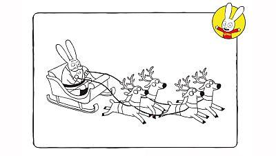Colorea al Papá Noel llegando a casa de Simón