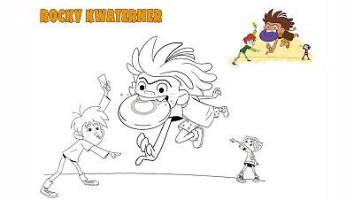 Colorea a Rocky jugando con el frisbee