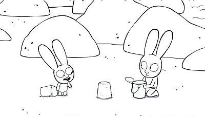 Colorea a Simón y Gaspar haciendo castillos