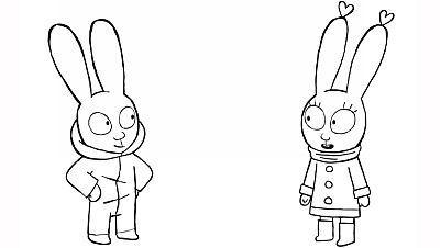 Colorea a Simón y Lou con sus trajes de nieve
