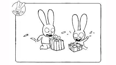 Colorea a Simón con sus regalos de Papá Noel