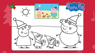 Navidad en la playa con Peppa Pig...¡coloréala!