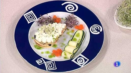 Lasaña de tortilla, queso y caviar