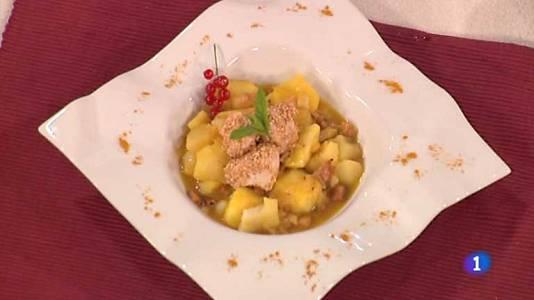 Patatas al curry con pollo