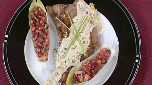 Entrecotes a la pimienta con salpic