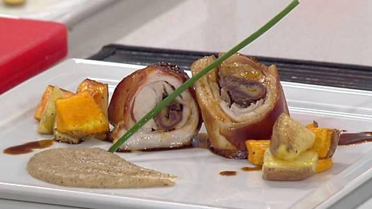 Cochinillo asado con patatas y castañas