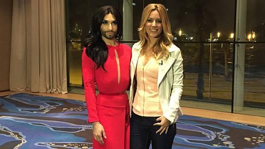 Eurovisión 2015- Edurne y Conchita Wurst, encuentro en Barcelona