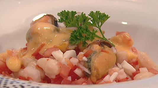 Cóctel de legumbres y marisco