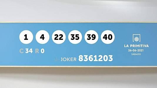 Sorteo de la Lotería Primitiva y Joker del 26/06/2021