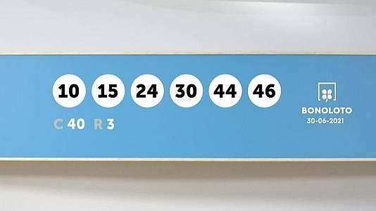 Sorteo de la Lotería Bonoloto del 30/06/2021