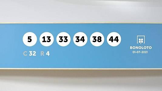 Sorteo de la Lotería Bonoloto del 01/07/2021