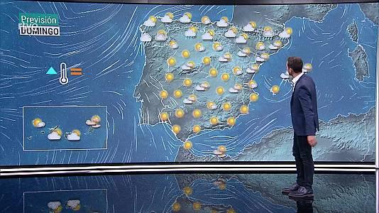 Algunos intervalos de viento fuerte en el litoral de Galicia y Canarias. Temperaturas significativamente altas en la mitad sur del área mediterránea