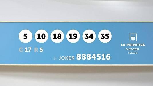 Sorteo de la Lotería Primitiva y Joker del 03/07/2021