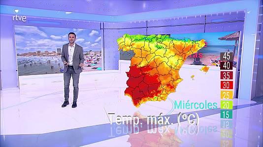 Se superarán los 40 grados en amplias zonas de la mitad sur peninsular, alcanzándose los 36 grados en otras zonas de la Península y Baleares y los 34 en zonas de Canarias