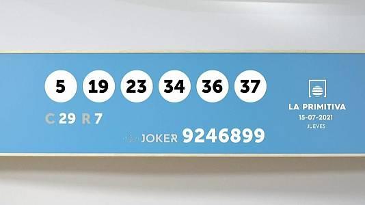 Sorteo de la Lotería Primitiva y Joker del 15/07/2021