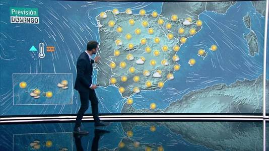 Cielos poco nubosos o despejados en la mayor parte del país. Temperaturas diurnas significativamente altas en el interior de la mitad sur y del noroeste peninsular, depresiones del nordeste y Canarias