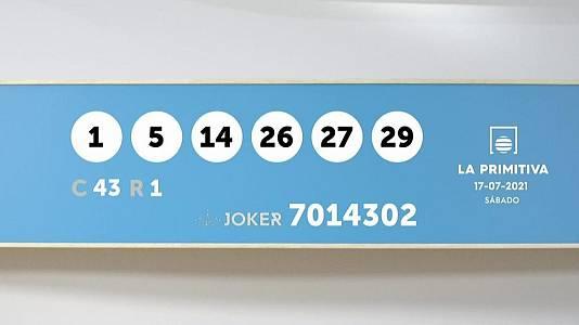 Sorteo de la Lotería Primitiva y Joker del 17/07/2021