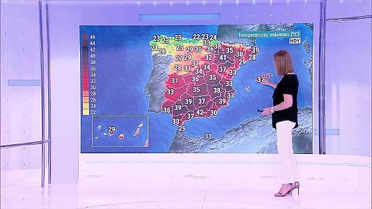 Temperaturas significativamente altas en la mitad este peninsular, valle del Guadalquivir y Baleares, alcanzándose los 40-42 grados en el valle del Ebro y sur de Valencia. Intervalos de viento fuerte en Canarias