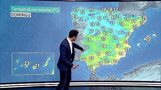 Descenso notable de las temperaturas en el valle del Ebro y Pirineos. Temperaturas significativamente altas en el sudeste peninsular y Baleares