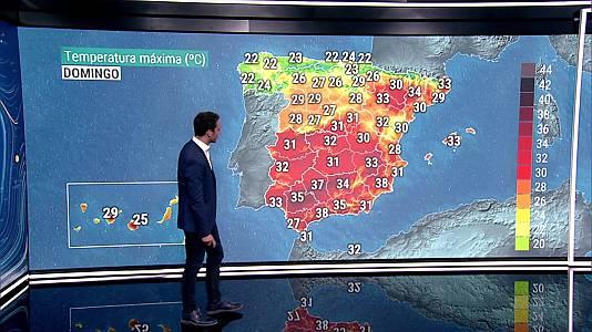Temperaturas significativamente altas en el sudeste peninsular y Baleares, alcanzándose los 40-42 grados en interiores de Murcia y Almería y zonas de Málaga