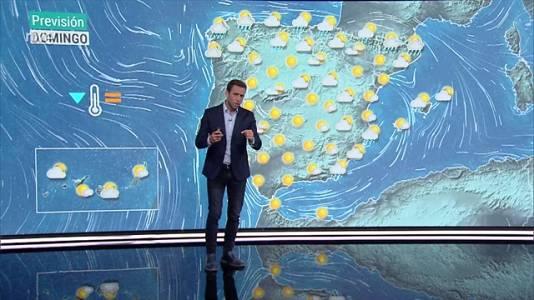 Chubascos y tormentas localmente fuertes en Baleares y en áreas del cuadrante nordeste y zona centro peninsular. Descenso notable de las temperaturas en gran parte de la Península