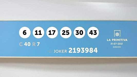 Sorteo de la Lotería Primitiva y Joker del 31/07/2021
