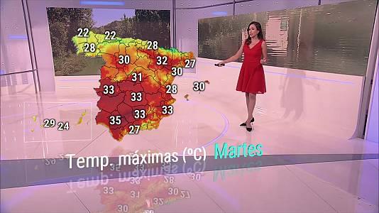 Chubascos y tormentas localmente fuertes en el Pirineo catalán, entorno del sur del sistema Ibérico e interior de la Comunidad Valenciana. Rachas fuertes de vientos en Canarias
