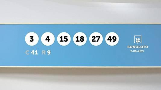 Sorteo de la Lotería Bonoloto del 02/08/2021