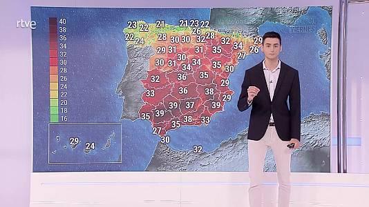 Temperaturas máximas altas en el valle del Guadalquivir