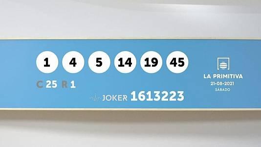 Sorteo de la Lotería Primitiva y Joker del 21/08/2021