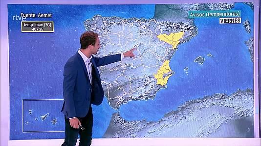 Chubascos y tormentas  fuertes en la Ibérica oriental y en á