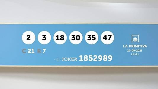 Sorteo de la Lotería Primitiva y Joker del 26/08/2021