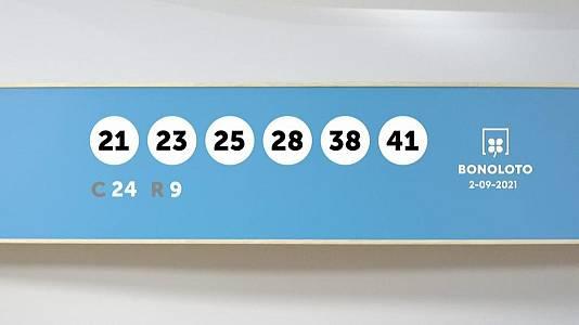 Sorteo de la Lotería Bonoloto del 02/09/2021