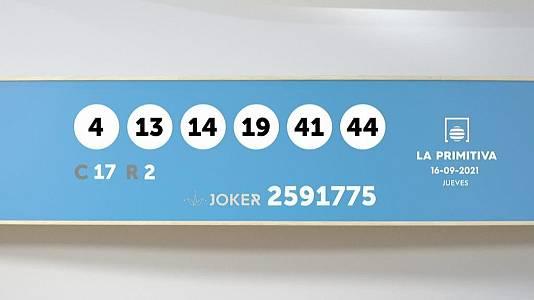 Sorteo de la Lotería Primitiva y Joker del 16/09/2021
