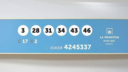 Sorteo de la Lotería Primitiva y Joker del 18/09/2021