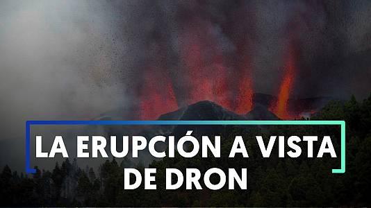 La erupción volcánica en La Palma a vista de dron