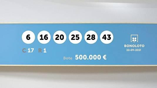Sorteo de la Lotería Bonoloto del 22/09/2021