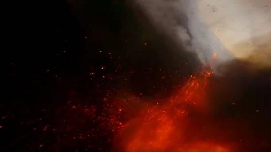 El interior del volcán de La Palma, a vista de dron