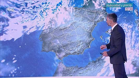 Temperaturas máximas en descenso en el Cantábrico, Pirineos, tercio oriental peninsular y, de forma localmente notable, en el área mediterránea y Canarias, sin cambios en el resto. Las mínimas bajarán en gran parte del país